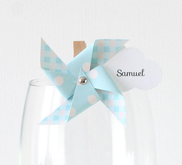 10 marque-places moulin à vent et nuage sur petite pince à linge, coloris bleu clair : Cuisine et service de table par latelierdesconfettis