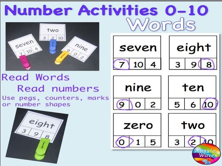 Early Maths Centre Activity COUNTING NUMBERS 0-10 WORDS