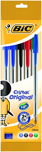 From 1.49 Bic Cristal Original Ballpoint Pens Assorted Colours 5 Pack
