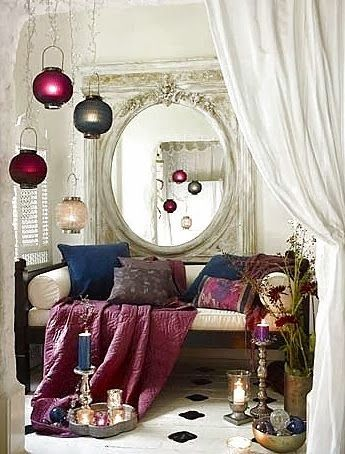 Cozy Bohemian jewel tones give a feeling of warmth & luxury