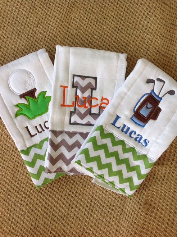 Set of 3 Personalized Burp Cloths - Diaper Cloths - Baby Boy - Monogrammed - Gift Set - Chevron - Golf Burps on Etsy, $30.00