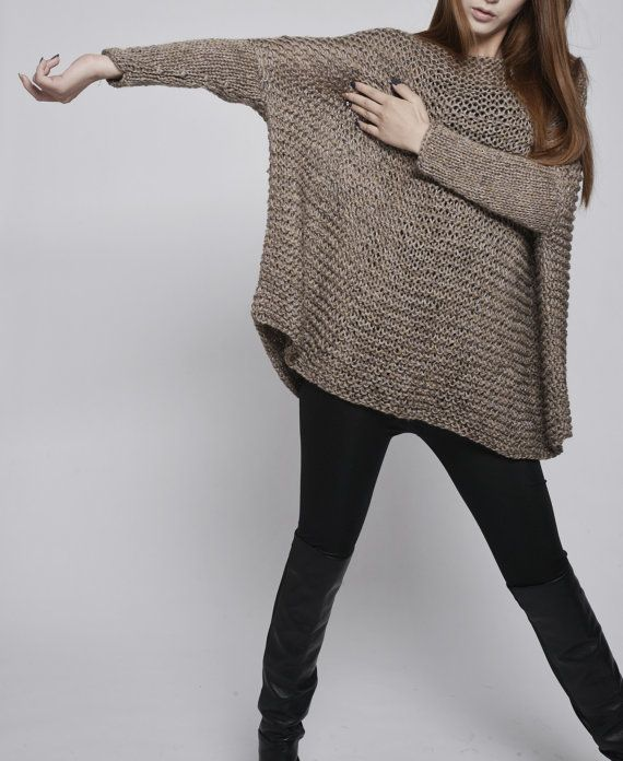 This beautiful over-sized sweater features simple style with fitted sleeves that makes you stylish and on trend. It is made of 100% eco cotton yarn in a beautiful Mocha color. No itch at all! It is a perfect item for Fall/winter that you can layering with tunic or shirt.  Size: one size fit most. Hand wash only and lay flat to dry.  I have other colors for this poncho. Pls. Check my shop for details: http://www.etsy.com/shop/MaxMelody?section_id=7175104   Thanks ...