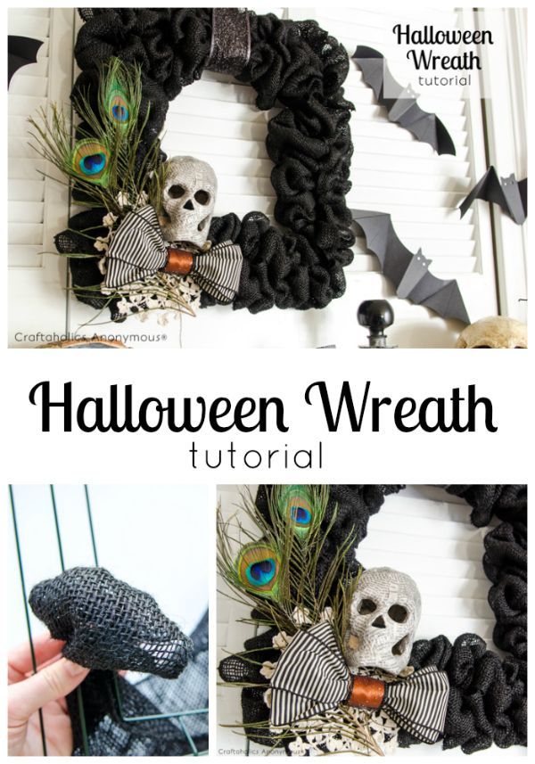 Halloween Wreath with Black Burlap. #spookyspaces #halloween #wreath Click here for tutorial: http://www.craftaholicsanonymous.net/burlap-halloween-wreath-tutorial-halloween-mantel