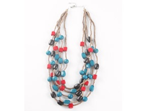 $35  The multi strand Arden necklace in sand, coral and teale is an eye-catching lightweight necklace that you're sure to love.     Also available in sand, white and chocolate.