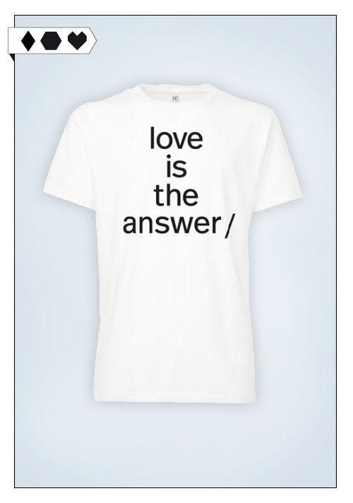 Thokkthokk / Süpergrüp Love is the Answer T-Shirt: 100% Organic Cotton, Fairtrade zertifiziert.  Unter fairen Bedingungen in Indien hergestellt.  5€ von jedem verkauften Shirt gehen an Viva con Agua.  Gibt's auch in nem Girlie-Schnitt für Mädels.  VEGAN/ECO/SOCIAL/*39,90€*