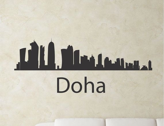 Wall Art Stickers Qatar : Slapartdoha qatar city skyline vinyl wall art by