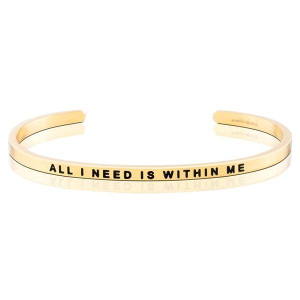 "Armband ""All I need is within me"" i guld"