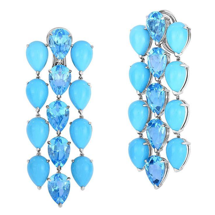 Georg Hornemann Turquoise Blue Topaz Gold Chandelier Earrings.