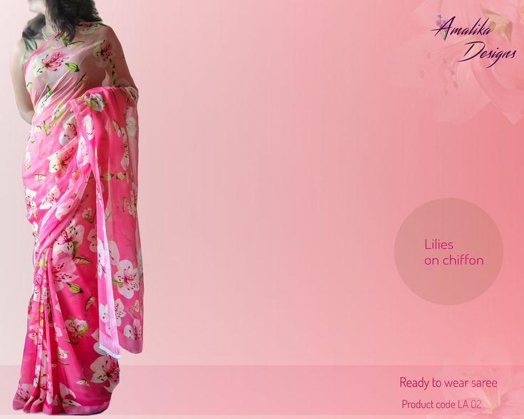 Hand painted lilies on pure chiffon saree in pink ombre'.
