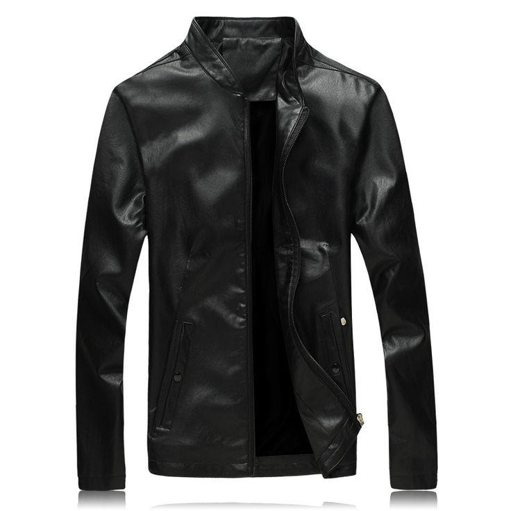 Men Leather Jacket Solid Color Autumn Casual Leather Jacket Men Fitness Long Sleeve Mandarin Collar Motorcycle Jacket Men 5XL