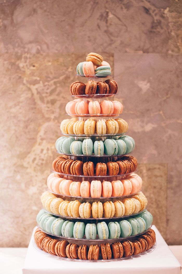 Colourful macaron tower // Featured in 'Pretty as a Picture Pastel Wedding' photographed by The Simple Things Studio
