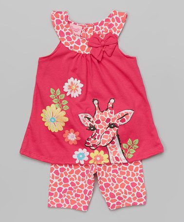 Another great find on #zulily! Pink Giraffe Tank & Shorts - Toddler & Girls #zulilyfinds
