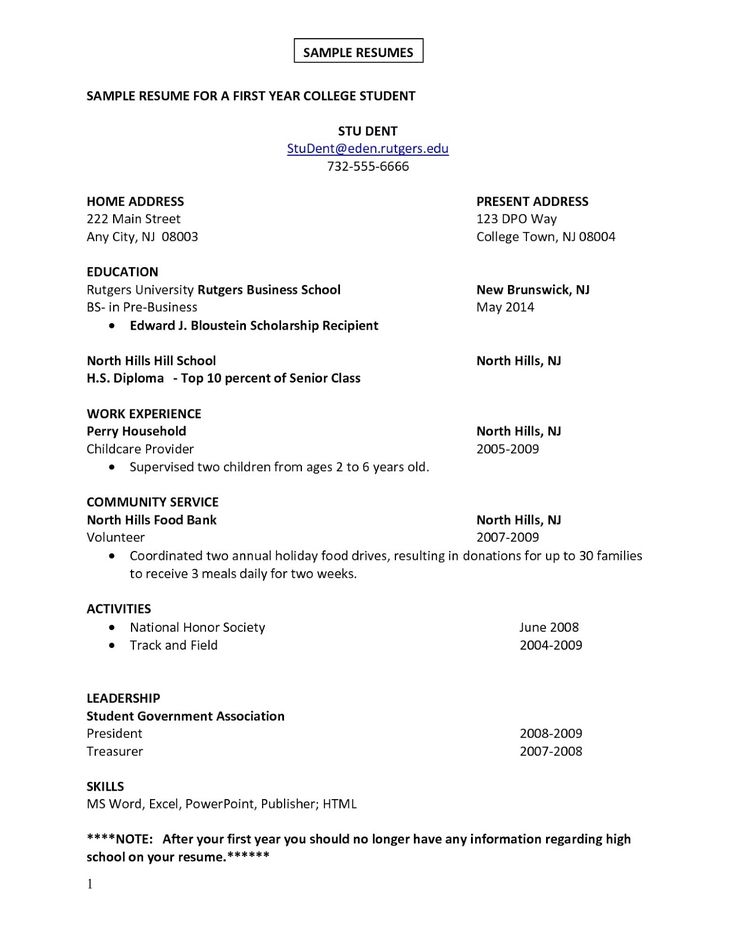 210 best Sample Resumes images on Pinterest Resume examples - example of college student resume