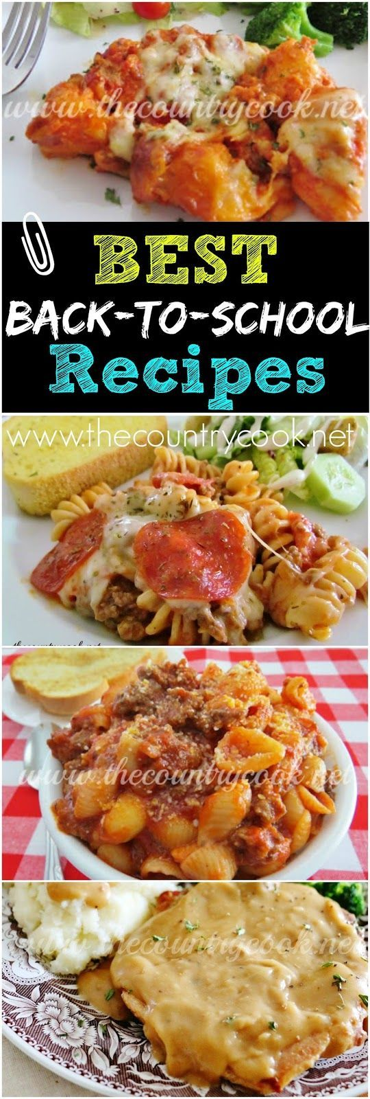 40 *BEST* Back-to-School Recipes from The Country Cook. Simple, budget-friendly, kid-friendly meals. The Bubble Up Lasagna and Pizza are some of my favorites.