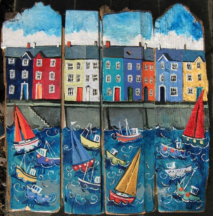 'harbourside houses' - driftwood art - lizzie spikes