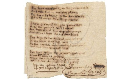 """Original Charlotte Brontë Manuscript Goes for $141,000.  Signed C Brontë, and dated by her on 14 December 1829, """"I've been wandering in the greenwoods"""" is written on a piece of paper measuring just three inches square, and is difficult to read without a magnifying glass. Charlotte and her siblings all wrote in a tiny hand, to make the most of a scarce and expensive paper supply."""