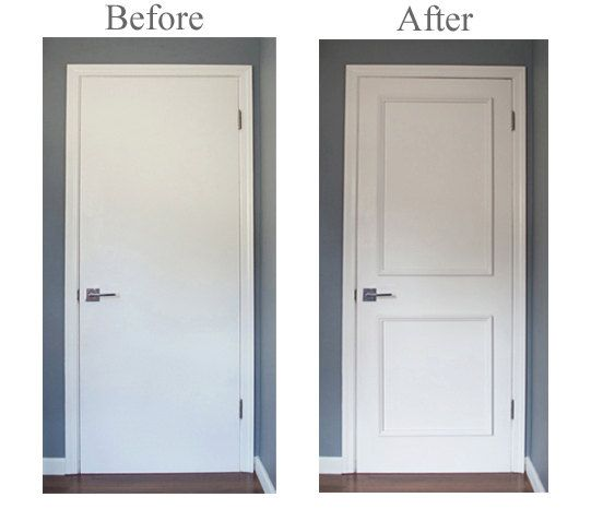 ~ Get the custom, high-end look in your home quickly and easily with our Patent Pending applied door moulding kits for interior, exterior and metal flat panel doors ~  Save 25% on our new DIY Series! Our professional grade wood frames, arrive already assembled with our special pre-applied adhesive on the back. (* DIY Series- requires minor patching, prep and paint *)  Installation is quick and easy! All you have to do is:  • measure / mark (instructions and worksheet included) • remove the…