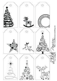 Côté Passion 9 tag BW Christmas étiquettes de Noël: