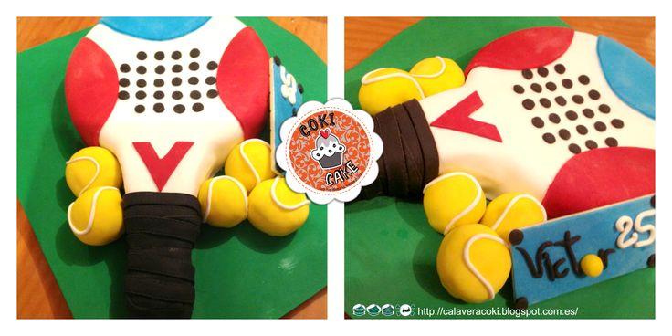 tarta de fondant raqueta de padel http://calaveracoki.blogspot.com.es/ http://blogxespacom.blogspot.com.es/