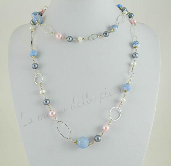 Perle e agata blu | collana elegante | La magia delle pietre