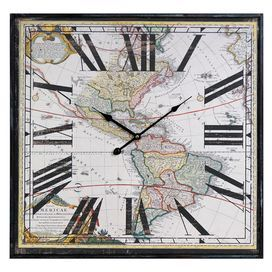 "Map-themed wall clock.Product: Wall clockConstruction Material: Wood and metalColor: Multi  Accommodates: AA Batteries - not included Dimensions: 24"" H x 24"" W x 2"" D"