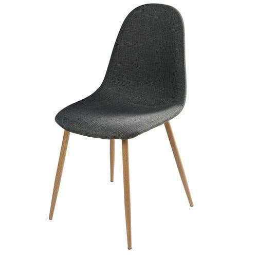 Clyde - Chaise en tissu anthracite