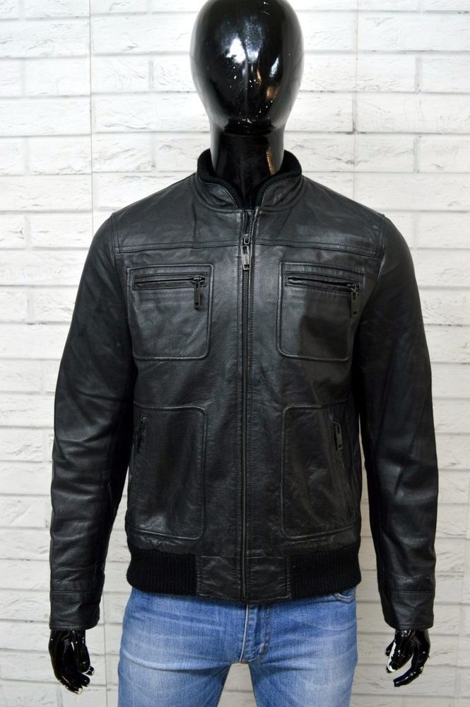 best sneakers 10878 8d9e0 Giacca Uomo Vera Pelle Nero DE BLASIO Taglia 56 Jacket ...