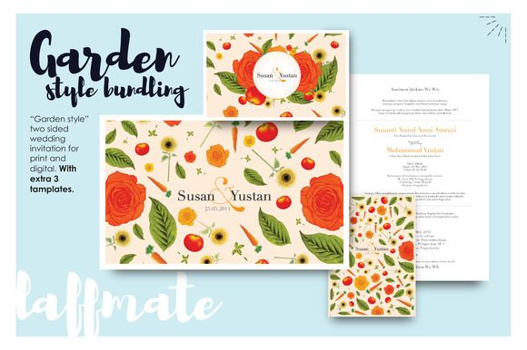 Garden party wedding invitation by Laffmate on Creative Market