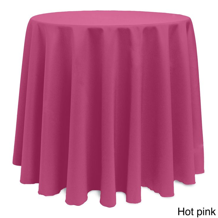 Solid Color 90 Inches Round Vibrant Color Tablecloth (HOT Pink)