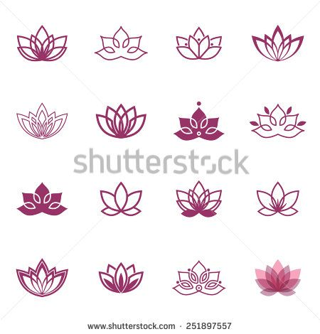 Lotus symbol icons. Vector floral labels for Wellness industry - stock vector