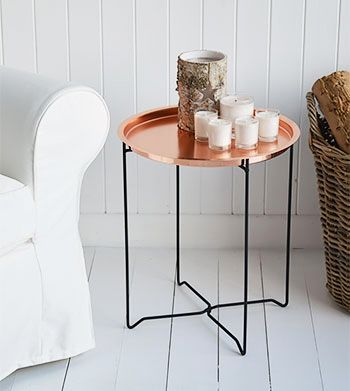 A Small Copper Side Table Or Coffee Table. The White Lighthouse Offers Living  Room Furniture And Home Decor In Our Unique Style Bring Together Nordic, ... Part 75