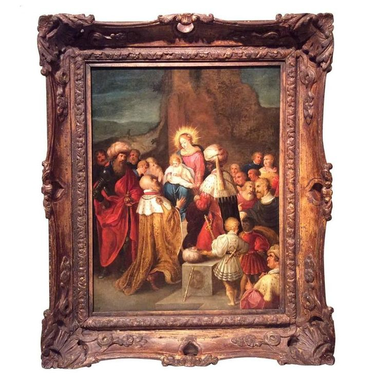Adoration of the Magi, ,workshop of Frans Francken II , Flemish 17th century  | From a unique collection of antique and modern paintings at https://www.1stdibs.com/furniture/wall-decorations/paintings/