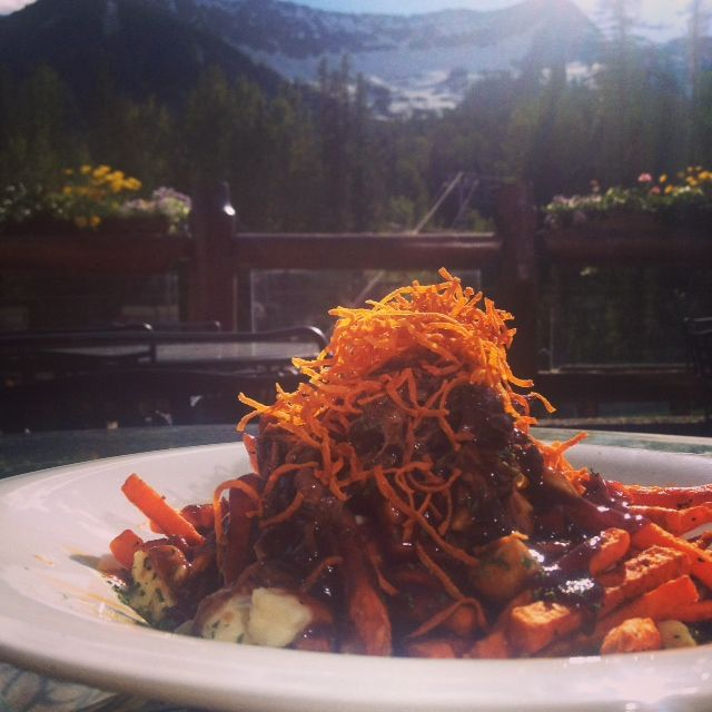 Braised Beef Poutine on the Lizard Creek Lodge outdoor Patio!