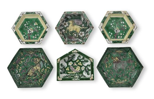 SIX GREEN, YELLOW, AUBERGINE AND CREAM-GLAZED BISCUIT SWEETMEAT DISHES KANGXI PERIOD (1662-1722)
