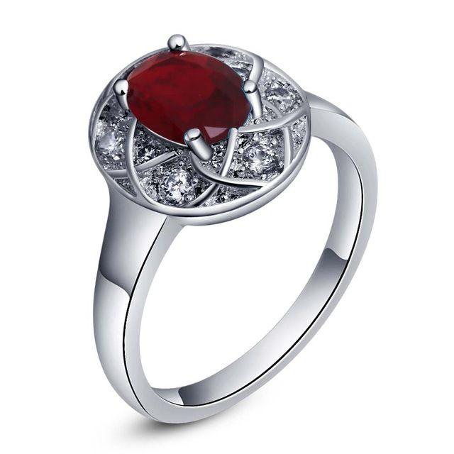 Последняя мода Дизайн красный циркон Овальные Серебряные позолоченные Кольца Мода Ювелирные Кольца Женщины и Мужчины,/RRZTQNYK FLSRASWY