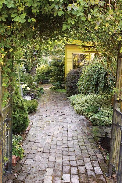 Salvaged brick garden path {© William P. Wright, Sharon Cohoon} #garden