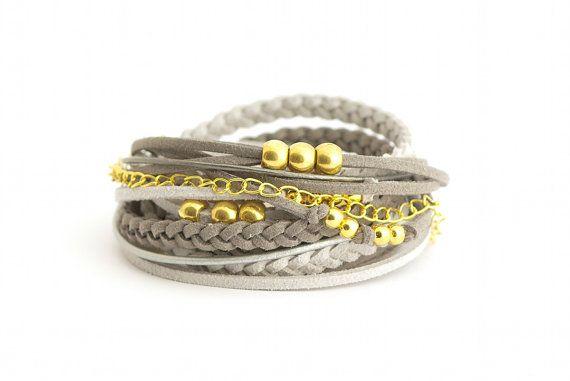 Wrap Bracelet Gray Silver Golden Bracelet Boho by cardioceras, $26.00