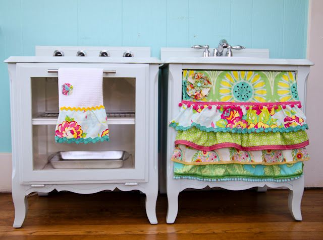 how to make a play kitchen set out of a pair of nightstands.  diy