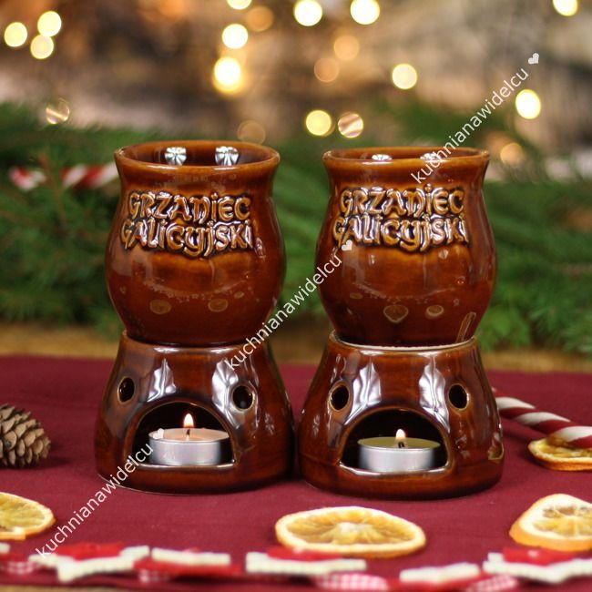 Zestaw do grzanego wina: dwa kubeczki z podgrzewaczami + pudełko prezentowe