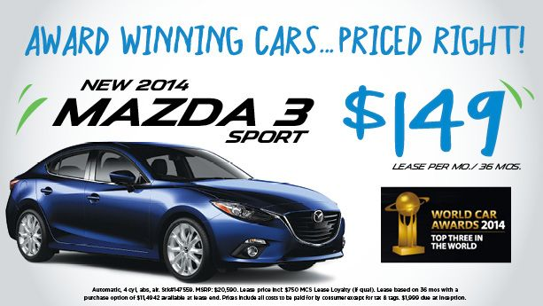 NEW 2014 MAZDA 3 SPORT ~ $149 a month lease for 36 months ~ Stop by and take one for a test drive today! 855-315-7600 http://www.peruzzimazda.com/ #ZoomZoom