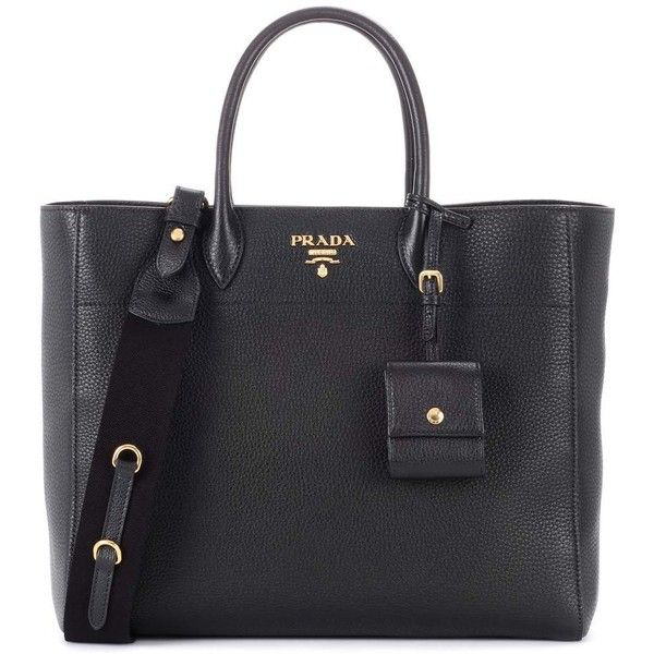 Prada Leather Tote (€1.855) ❤ liked on Polyvore featuring bags, handbags, tote bags, black, prada tote, prada purses, genuine leather handbags, handbag tote and prada tote bag