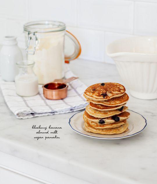 Blueberry banana pancakes, vegan  gluten free  (GF, V+, MF).  Made these on Christmas morning. Love them!