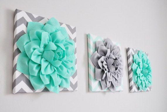 Vivero pared arte flores decoración verde menta y gris por bedbuggs