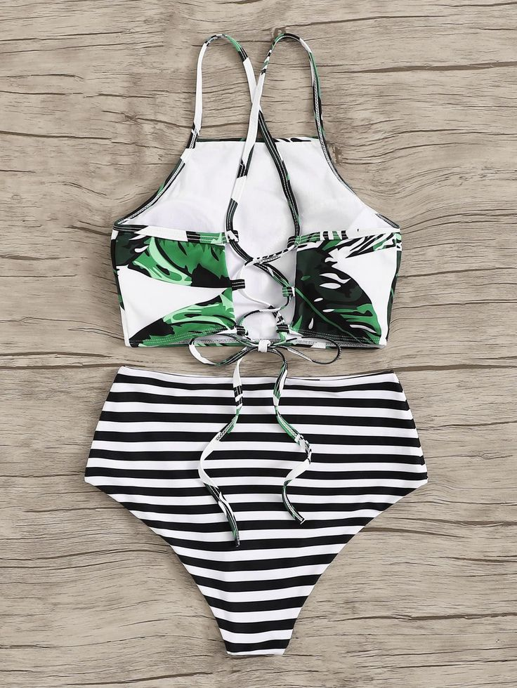 #ad Random Leaf Lace-up Top With Striped Bikini Set. #Yescanberemoved#Multicolor…