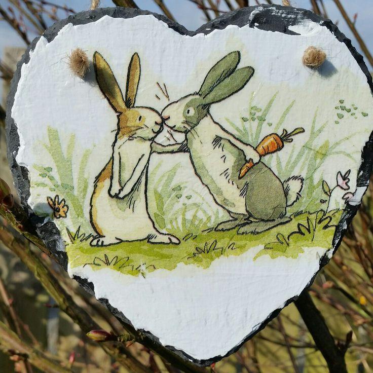 Slate decoupage rabbit heart