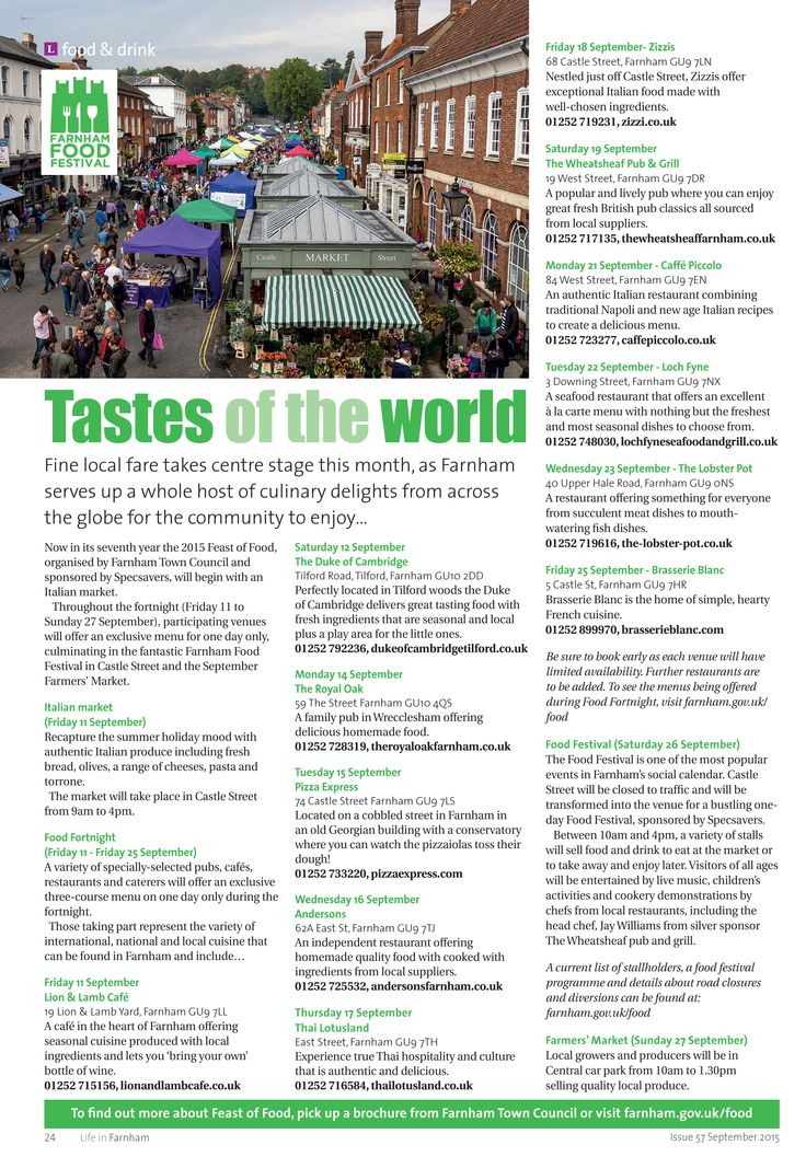 Tastes of the world ~ Farnham's Feast of Food. #locallife #Farnham #Surrey #food #drink #keepitlocal #inspiration #ideas