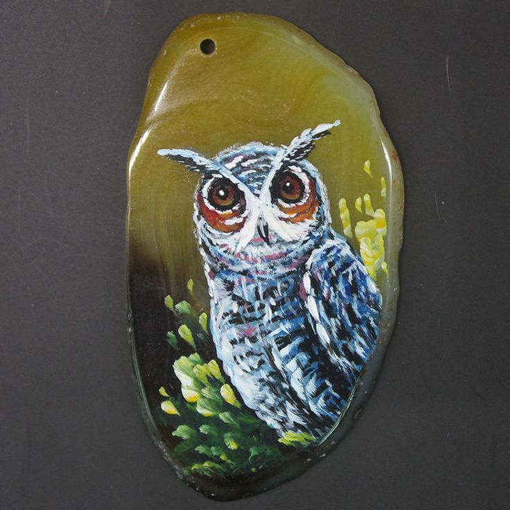 HAND PAINTED OWL GEMSTONE FASHION NECKLACE PENDANT BEAD JW10 00021 #JW
