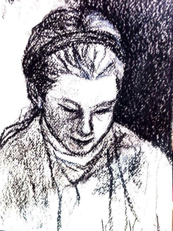 読書するアンナ    木炭、紙 Anna,reading.   Charcoal,paper.     1998