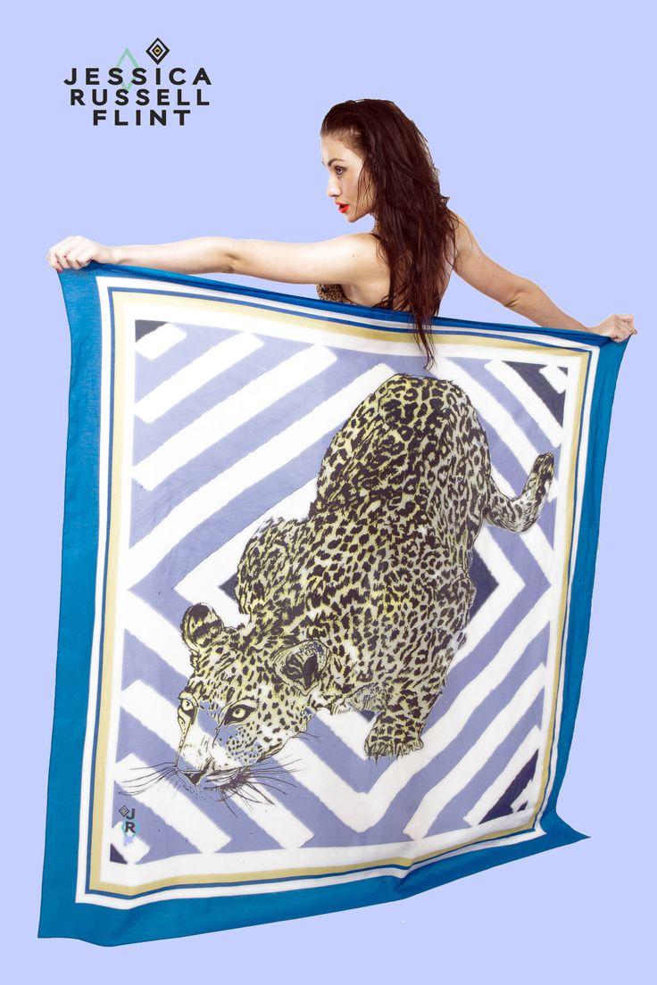 the giant blue leopard beach sarong