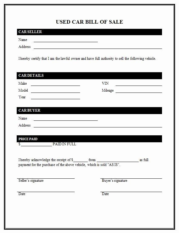 As Is Bill Of Sale Form For Vehicle Unique Bill Sale Used Car Bill Of Sale Template Bill Of Sale Car Used Cars